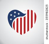 american flag inside heart.... | Shutterstock .eps vector #355982825