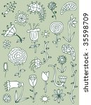 collection of hand drawn floral ... | Shutterstock .eps vector #35598709