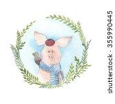 pig and bird. watercolor spring ... | Shutterstock . vector #355990445