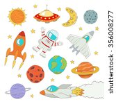 set of cute outer space... | Shutterstock . vector #356008277