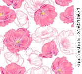 Pink Poppy Flowers . Vector...