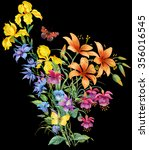 omposition of garden flowers... | Shutterstock . vector #356016545