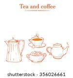 vintage tea set. vector... | Shutterstock .eps vector #356026661