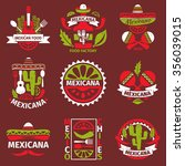 mexican food grunge rubber logo ... | Shutterstock . vector #356039015