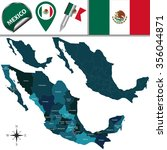vector map of mexico with named ...