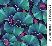 ginkgo biloba leaf fabric... | Shutterstock . vector #356060321
