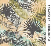 palm leaves silhouettes... | Shutterstock .eps vector #356069531