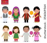 kids in traditional costume ... | Shutterstock .eps vector #356069564