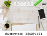 wooden work desk top view with... | Shutterstock . vector #356091881
