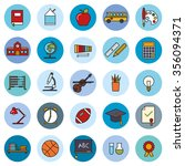 education filled line icons... | Shutterstock .eps vector #356094371
