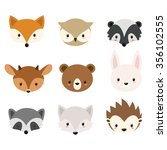cute woodland animals... | Shutterstock . vector #356102555