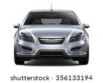 Stock photo compact silver car front view 356133194