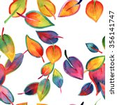 bright watercolor leaves... | Shutterstock . vector #356141747