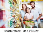 family with chopping cart... | Shutterstock . vector #356148029