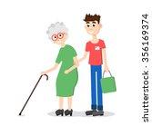 man helping elder. boy helps... | Shutterstock .eps vector #356169374