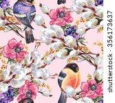bird bullfinch  willow ... | Shutterstock . vector #356173637