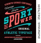 87 sport font crafted retro... | Shutterstock .eps vector #356174144