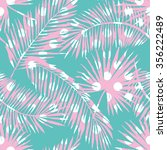 pink palm leaves polka dots... | Shutterstock .eps vector #356222489