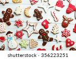 christmas cookies on a blue... | Shutterstock . vector #356223251