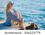 beautiful girl in sea style... | Shutterstock . vector #356223779