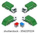 isometric garbage truck with... | Shutterstock .eps vector #356229224