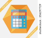 calculator flat icon with long... | Shutterstock .eps vector #356297729