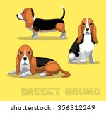 Dog Basset Hound Cartoon Vecto...