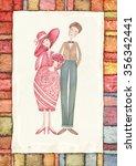 two lovers. watercolor... | Shutterstock . vector #356342441