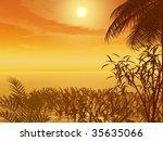 tropical sunset | Shutterstock . vector #35635066