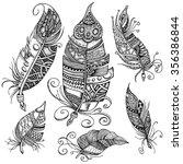 set of 6 hand drawn line art of ... | Shutterstock .eps vector #356386844