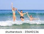 portrait of joyful group of... | Shutterstock . vector #35640136