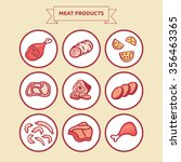 meat products. set of isolated... | Shutterstock .eps vector #356463365