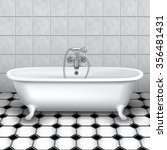 Retro Bathtub In A Tiled...
