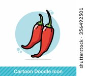 vegetable chili color doodle | Shutterstock .eps vector #356492501