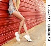 beautiful young blonde long... | Shutterstock . vector #356494445