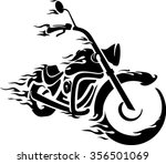 flaming bike chopper ride front ... | Shutterstock .eps vector #356501069