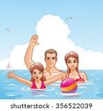 family with children on sunny... | Shutterstock .eps vector #356522039