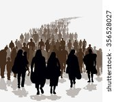 silhouettes of refugees people...   Shutterstock .eps vector #356528027