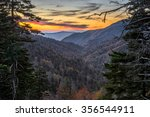 A colorful sunset over the Great Smoky Mountain National Park in Tennessee