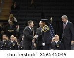 Small photo of NEW YORK CITY - DECEMBER 29 2015: Mayor de Blasio, Commissioner Bratton and Homeland Security chief Johnson presided over the graduation of new officers at Madison Square Garden. PBA award conferred