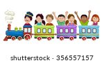 kids  boys and girls  on a... | Shutterstock .eps vector #356557157
