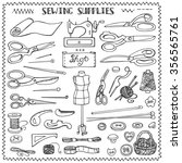 sewing and needlework doodle... | Shutterstock . vector #356565761