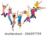 large group of happy cheerful... | Shutterstock . vector #356597759