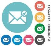 flat mail sent icon set on...