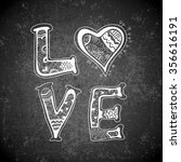 hand drawn love word on... | Shutterstock .eps vector #356616191