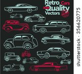 retro cars outline icons set 2. ... | Shutterstock .eps vector #356620775