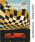 vintage sport racing car poster | Shutterstock .eps vector #356621051