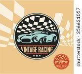 vintage racing car label  retro ... | Shutterstock .eps vector #356621057