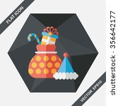 christmas gift flat icon with... | Shutterstock .eps vector #356642177