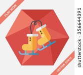 ski boot flat icon with long... | Shutterstock .eps vector #356644391